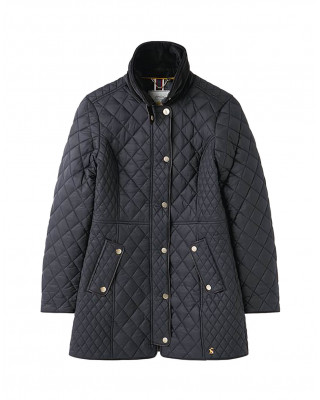 Joules Newdale Long Quilted Jacket - Black