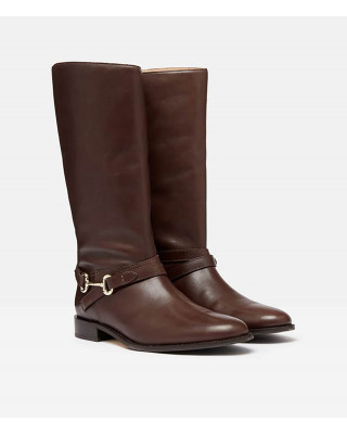 Joules Westcote Knee High Leather Boots - Dark Brown