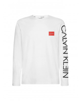 Calvin Klein Organic Cotton Long Sleeve Logo T-Shirt - White