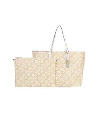 Calvin Klein Logo Jacquard Laptop Tote Bag - Birch Signature