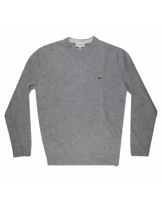 Lacoste Organic Cotton Crew Neck Jumper - Grey Chine