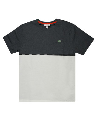 Lacoste SPORT Crew Neck Bicolour Cotton T-Shirt - Grey Chine