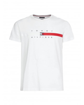 Tommy Hilfiger Organic Cotton Signature Tape Logo T-Shirt - White