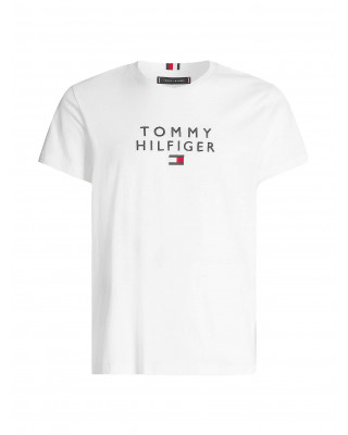 Tommy Hilfiger Logo Embroidery Organic Cotton T-Shirt - White
