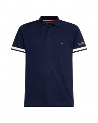Tommy Hilfiger Logo Embroidery Cuff Slim Fit Polo Shirt - Desert Sky