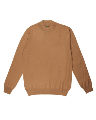 Remus Uomo Casual Slim Fit Merino Wool-Blend Turtleneck Jumper - Caramel