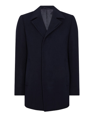 Remus Uomo Lohmann Tapered Fit Wool Rich Overcoat - Navy