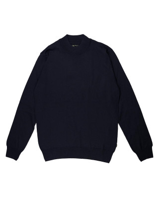 Remus Uomo Casual Slim Fit Merino Wool-Blend Turtleneck Jumper - Navy
