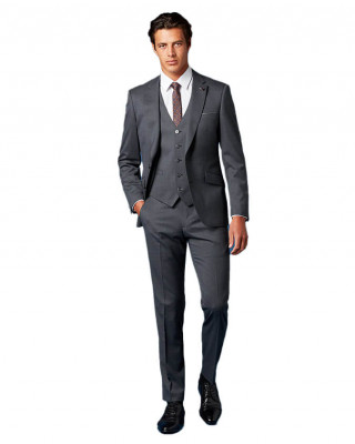 Remus Uomo Palucci Tapered Fit Wool Rich Three Piece Suit - Grey