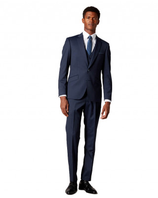 Remus Uomo Palucci Tapered Fit Wool Rich Three Piece Suit - Navy