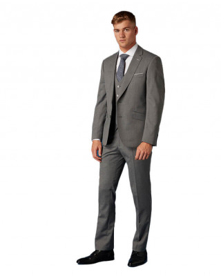 Remus Uomo Palucci Tapered Fit Wool Rich Three Piece Suit - Light Grey