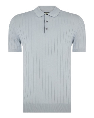 Remus Uomo Slim Fit Knitted Cotton Short Sleeve Polo Shirt - Light Blue