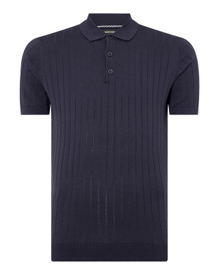 Remus Uomo Slim Fit Knitted Cotton Short Sleeve Polo Shirt - Navy