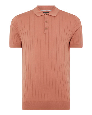 Remus Uomo Slim Fit Knitted Cotton Short Sleeve Polo Shirt - Terracotta