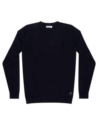 Replay Crewneck Sweater in Merino Wool - Navy