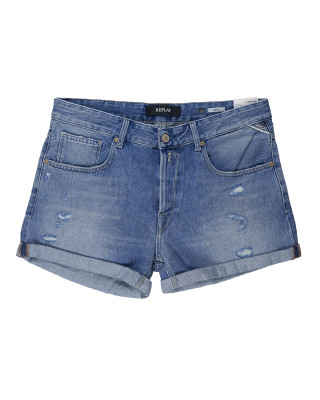 Replay Rose Label Anyta Denim Shorts - Medium Blue