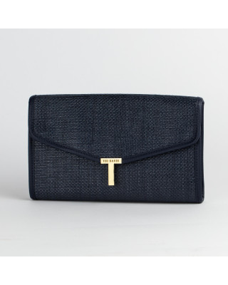 Ted Baker Arthea Straw T Clutch Bag - Navy