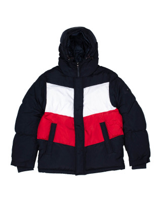 Tommy Hilfiger Chevron Colour Blocked-Hooded Jacket