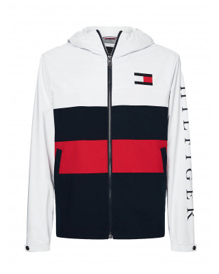 Tommy Hilfiger Colour-Blocked Zip-Thru Hooded Jacket