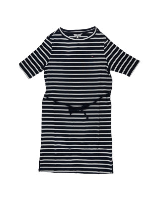 Tommy Hilfiger Horizontal Stripe Half Sleeve Dress