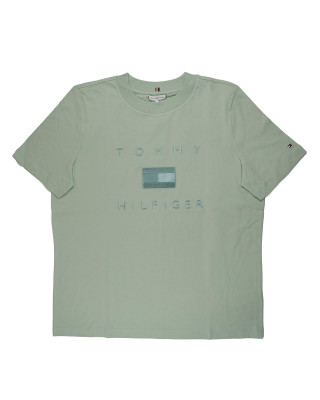 Tommy Hilfiger Logo Embroidery Crew Neck T-Shirt - Delicate Jade