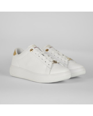 Tommy Hilfiger Metallic Leather Cupsole Trainers - White