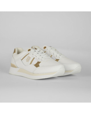 Tommy Hilfiger Monogram Logo Leather Trainers - White