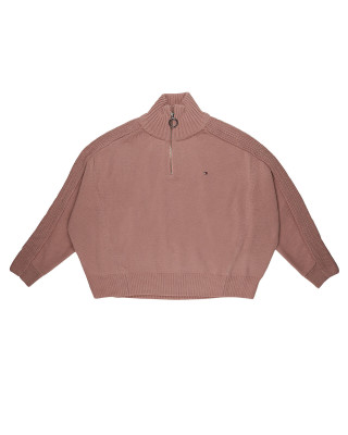 Tommy Hilfiger Oversized Half-Zip High Neck Jumper - Soothing Pink