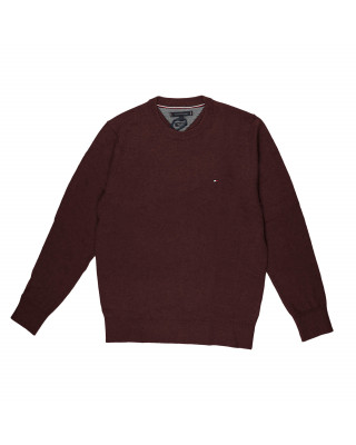 Tommy Hilfiger Pima Cotton Cashmere Crew Neck Jumper - Deep Burgundy Heather