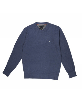 Tommy Hilfiger Pima Cotton Cashmere Crew Neck Jumper - Faded Indigo Heather