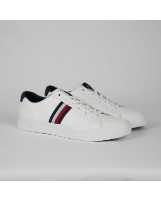 Tommy Hilfiger Signature Tape Leather Trainers - White