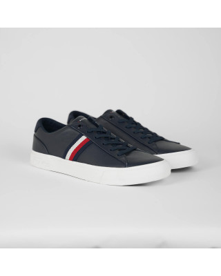 Tommy Hilfiger Signature Tape Leather Trainers - Desert Sky