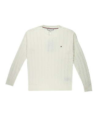 Tommy Hilfiger TH Cool Cable-Knit Jumper - Ecru