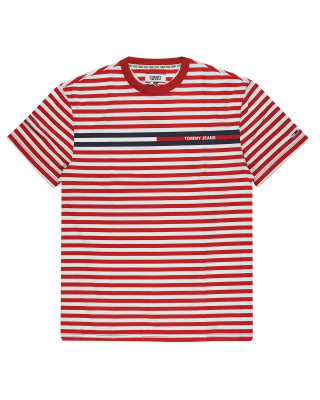 Tommy Jeans Branded Stripe T-Shirt - Deep Crimson