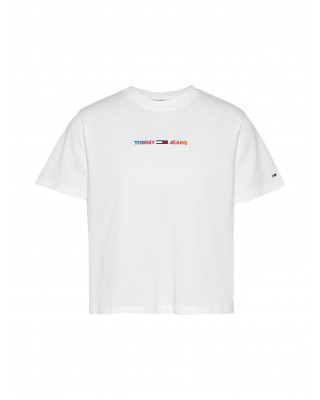 Tommy Jeans Logo Boxy Cropped T-Shirt - White