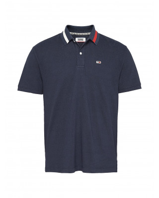 Tommy Jeans Flag Neck Regular Fit Polo Shirt - Twilight Navy