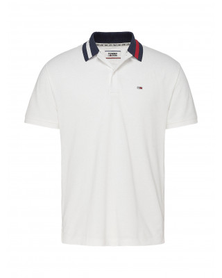 Tommy Jeans Flag Neck Regular Fit Polo Shirt - White