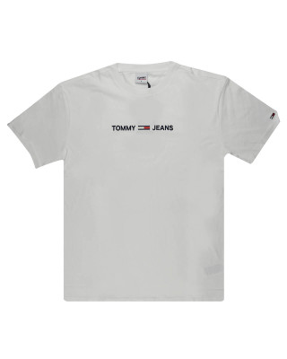 Tommy Jeans Logo Embroidery Organic Cotton T-Shirt - White