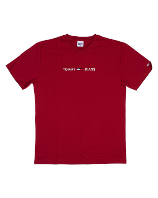 Tommy Jeans Logo Embroidery Organic Cotton T-Shirt - Wine Red