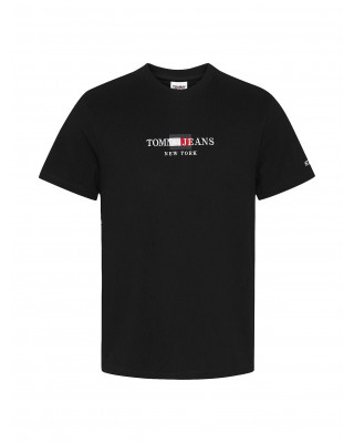 Tommy Jeans Organic Cotton Logo Embroidery T-Shirt - Black