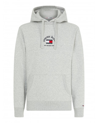 Tommy Jeans Badge Logo Embroidery Hoody - Light Grey