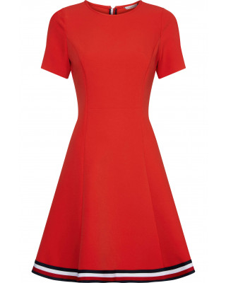 Tommy Hilfiger Signature Tape Fit And Flare Dress - Primary Red