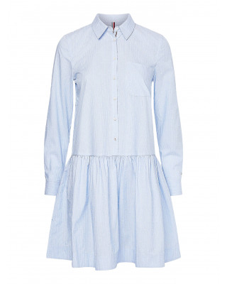 Tommy Hilfiger Dobby Stripe Relaxed Shirt Dress - Breezy Blue