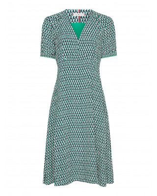 Tommy Hilfiger Geometric Print Knee Length Dress - Primary Green
