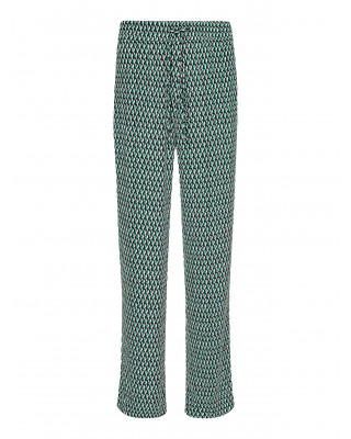 Tommy Hilfiger Viscose Geometric Print Wide Leg Trousers - Primary Green