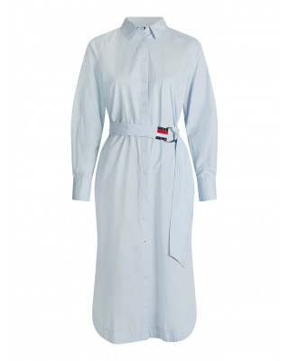 Tommy Hilfiger Stripe Belt Midi Shirt Dress - Breezy Blue