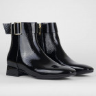 Tommy Hilfiger Square Toe Patent Leather Mid-Heel Boots